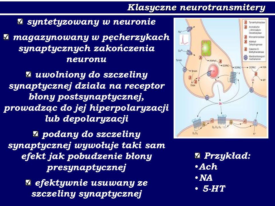 Neurotransmitery nieklasyczne nie są magazynowane w pęcherzykach synaptycznych nie wiążą się z receptorami pre- i postsynaptycznymi (działają bezpośrednio na wtórne przekaźniki, enzymy) są wolniej rozkładane niż neurotransmitery klasyczne mogą dyfundować do sąsiadujących synaps, długotrwale modulując przekaźnictwo (transmisja objętościowa) Przykład: NO, CO, eikozanoidy