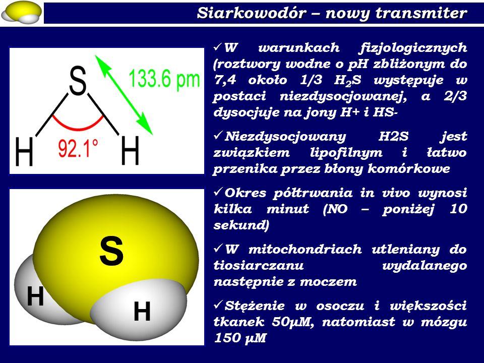 Siarkowodór – nowy transmiter S H H W warunkach fizjologicznych (roztwory wodne o pH zbliżonym do 7,4 około 1/3 H 2 S występuje w postaci niezdysocjow