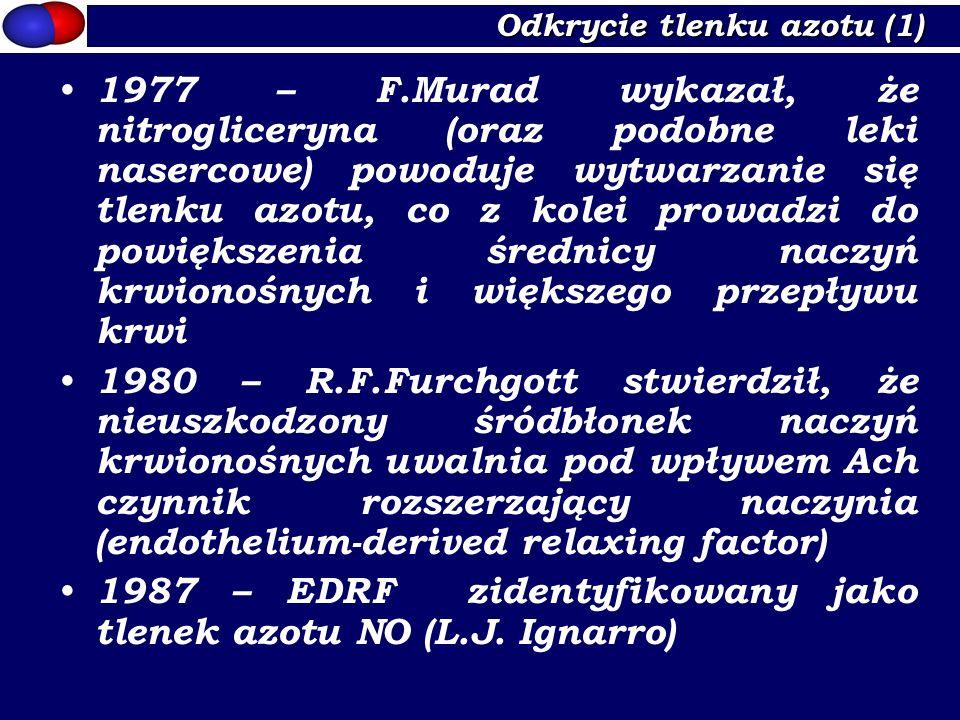 Izoenzymy NOS (2) Porównywana cecha Śródbłonkowa syntaza tlenku azotu eNOS Neuronalna syntaza tlenku azotu nNOS Indukowalna syntaza tlenku azotu iNOS WykrytaKomórki śródbłonka Neurony NMDA Nerwy NANC Makrofagi Ekspresja tkankowa Kardiomiocyty, neurony, monocyty Mięśnie szkieletowe, kardiomiocyty, VSMC, neutrofile Kardiomiocyty, glej, VSMC, śródbłonek, neurony Gen kodującyNOS3 Chromosom 7 NOS1 Chromosom 12 NOS2 Chromosom 17 Mechanizm regulacji Ca 2+ -zależny (Ca- kalmodulina) Ca 2+ -zależny (Ca- dystrofina) Ca 2+ -niezależny Lokalizacja w komórce Układ Golgiego, błona cytoplazmatyczna, kaweole Cytozol, ER, błona komórkowa, ziarnistości, kaweole Fagosomy