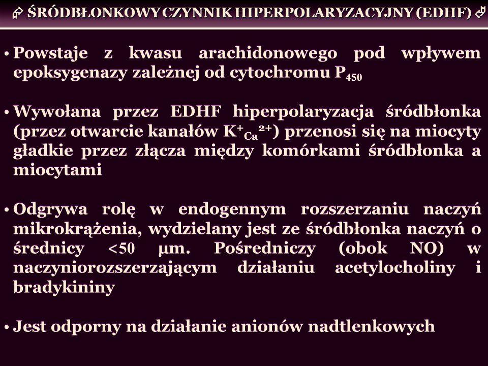 ŚRÓDBŁONKOWY CZYNNIK HIPERPOLARYZACYJNY (EDHF) Powstaje z kwasu arachidonowego pod wpływem epoksygenazy zależnej od cytochromu P 450 Wywołana przez ED