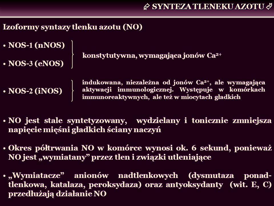 SYNTEZA TLENEKU AZOTU Izoformy syntazy tlenku azotu (NO) NOS- 1 (nNOS) NOS- 3 (eNOS) NOS- 2 (iNOS) Izoformy syntazy tlenku azotu (NO) NOS- 1 (nNOS) NO
