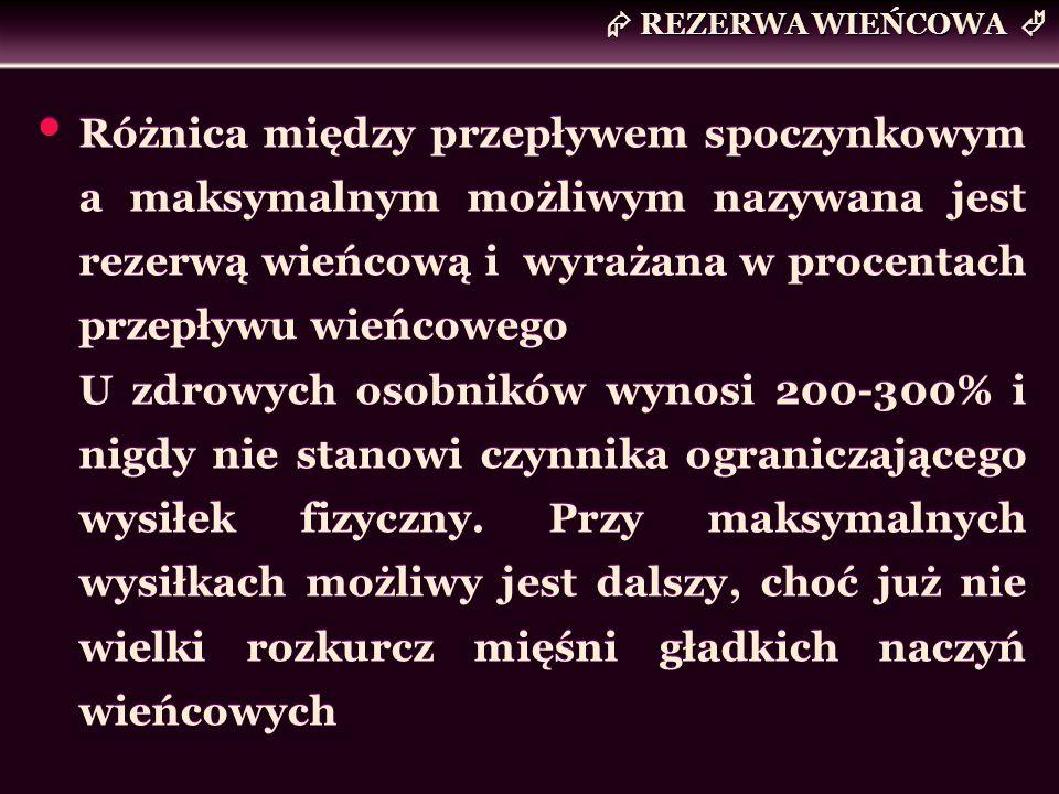 REZERWA WIEŃCOWA Różnica między przepływem spoczynkowym a maksymalnym możliwym nazywana jest rezerwą wieńcową i wyrażana w procentach przepływu wieńco