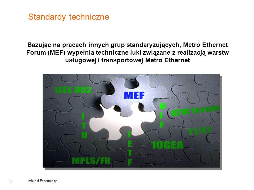 12 miejski Ethernet tp Standardy techniczne Bazując na pracach innych grup standaryzujących, Metro Ethernet Forum (MEF) wypełnia techniczne luki związ