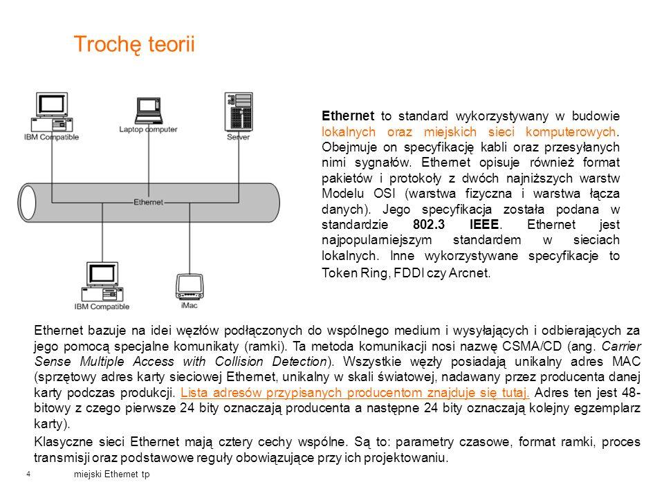 4 miejski Ethernet tp Trochę teorii Ethernet to standard wykorzystywany w budowie lokalnych oraz miejskich sieci komputerowych. Obejmuje on specyfikac