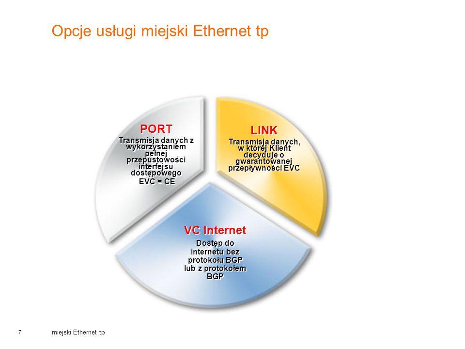 7 miejski Ethernet tp Opcje usługi miejski Ethernet tp VC Internet Dostęp do Internetu bez protokołu BGP lub z protokołem BGP VC Internet Dostęp do In