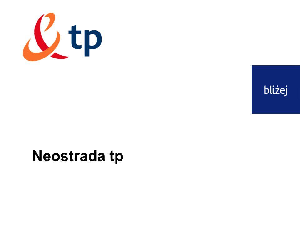 12 Neostrada tp, Dostęp do Internetu DSL tp neostrada tp – numery infolinii 0 801 321 123 reklamacje związane z procesem realizacji usługi – infolinia zamówieniowa i zmian (migracji) neostrady: wydłużone oczekiwanie na przygotowanie linii do świadczenia usługi problemy z dostawą pakietu sprzętowego Klient zainteresowany zmiana opcji 0 800 102 102 reklamacje techniczne – infolinia wsparcia technicznego neostrady tp błędy pojawiające się przy instalacji problem z rejestracją problem z modemem, uszkodzony modem awarie usługi problemy z logowaniem problemy z otwieraniem stron www 0 800 300 500 weryfikacja planu telefonicznego abonenta