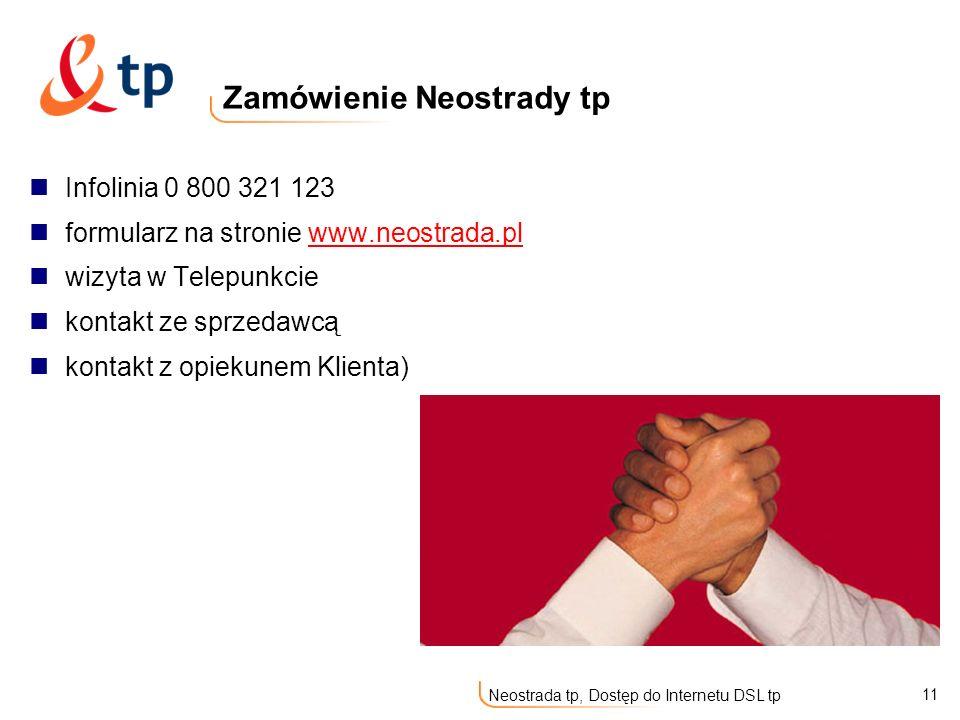 11 Neostrada tp, Dostęp do Internetu DSL tp Infolinia 0 800 321 123 formularz na stronie www.neostrada.plwww.neostrada.pl wizyta w Telepunkcie kontakt