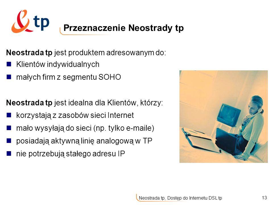 13 Neostrada tp, Dostęp do Internetu DSL tp Neostrada tp jest produktem adresowanym do: Klientów indywidualnych małych firm z segmentu SOHO Neostrada