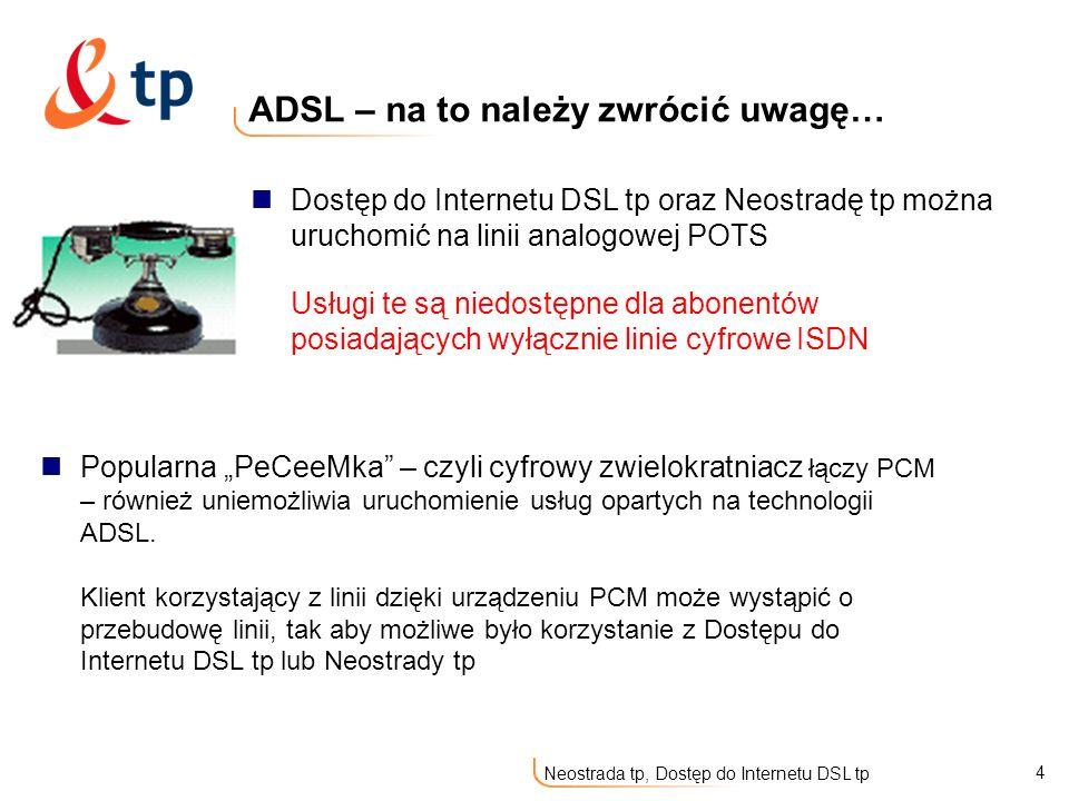 5 Neostrada tp, Dostęp do Internetu DSL tp Rozdział Neostrada tp