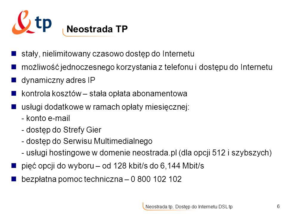 6 Neostrada tp, Dostęp do Internetu DSL tp stały, nielimitowany czasowo dostęp do Internetu możliwość jednoczesnego korzystania z telefonu i dostępu d