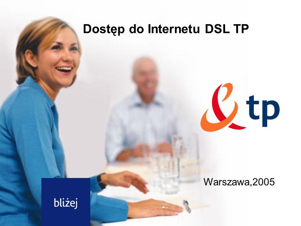 2 Dotyczy: dostęp do Internetu DSL tp Łącze umożliwiające stały, szerokopasmowy dostęp do sieci Internet za pomocą zwykłej linii telefonicznej Usługa dostęp do Internetu DSL TP umożliwia jednoczesne korzystanie z Internetu, telefonu lub faksu Co to jest usługa dostępu do Internetu DSL TP ?
