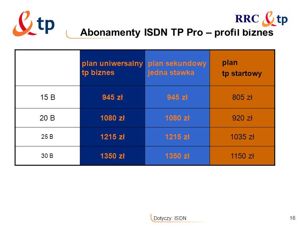 16 Dotyczy: ISDN Abonamenty ISDN TP Pro – profil biznes plan uniwersalny tp biznes plan sekundowy jedna stawka plan tp startowy 15 B945 zł 805 zł 20 B