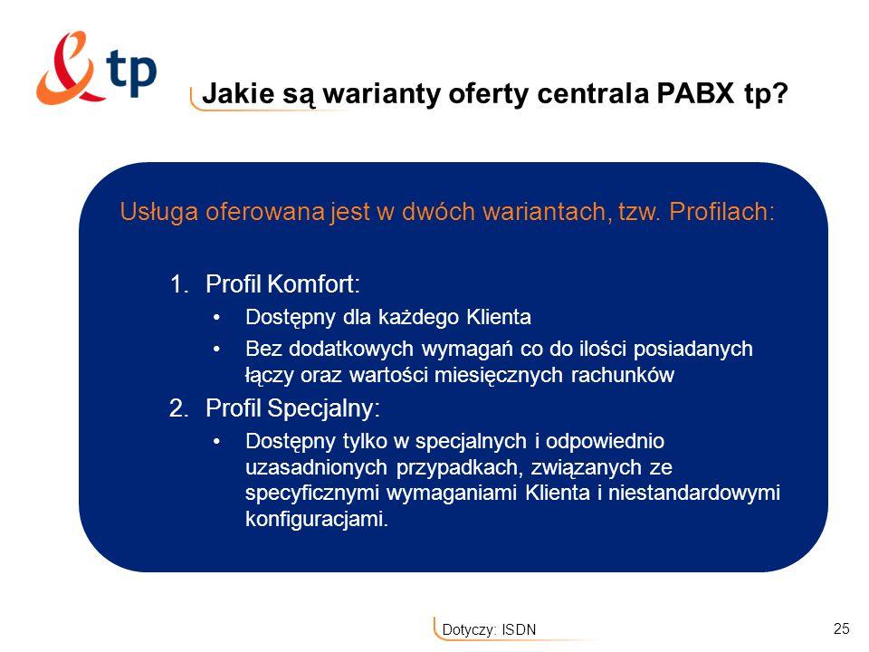 25 Dotyczy: ISDN Jakie są warianty oferty centrala PABX tp? 1.Profil Komfort: Dostępny dla każdego Klienta Bez dodatkowych wymagań co do ilości posiad