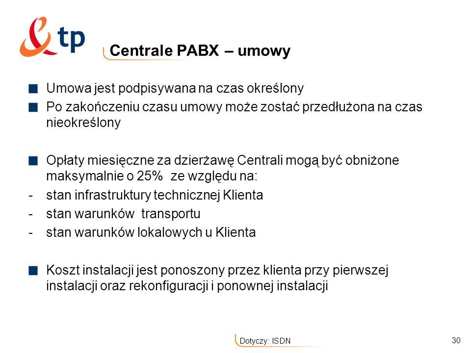 30 Dotyczy: ISDN Centrale PABX – umowy Umowa jest podpisywana na czas określony Po zakończeniu czasu umowy może zostać przedłużona na czas nieokreślon