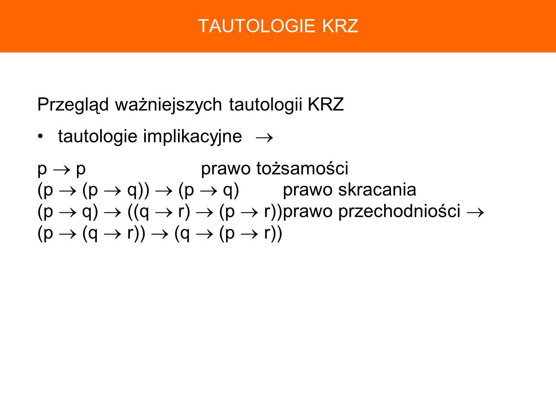 Przegląd ważniejszych tautologii KRZ tautologie implikacyjne p pprawo tożsamości (p (p q)) (p q)prawo skracania (p q) ((q r) (p r))prawo przechodniośc