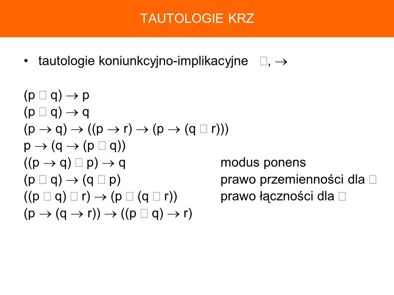 tautologie koniunkcyjno-implikacyjne, (p q) p (p q) q (p q) ((p r) (p (q r))) p (q (p q)) ((p q) p) qmodus ponens (p q) (q p)prawo przemienności dla (