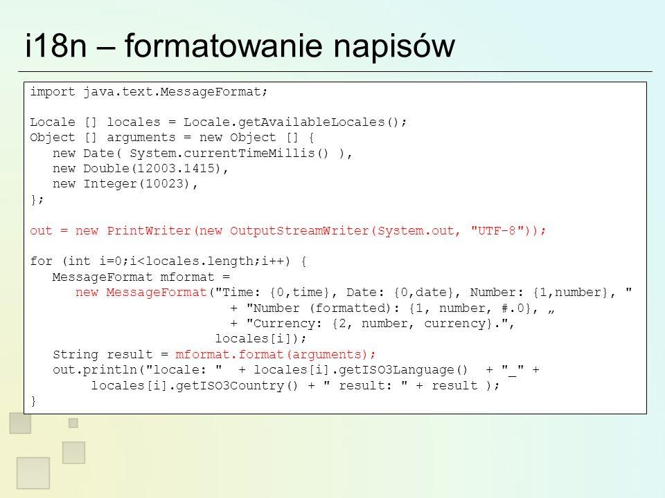 Rozwiązanie przy pomocy invokeLater JFrame frame = new JFrame( Swing Freeze Test ); final JButton button = new JButton( Freeze me ! ); frame.getContentPane().add(button); button.addActionListener( new ActionListener() { public void actionPerformed(ActionEvent e) { button.setText( Sleeping... ); button.setEnabled(false); new Thread() { public void run() { Thread.currentThread().sleep(3000); SwingUtilities.invokeLater( new Runnable() { public void run() { button.setEnabled(true); button.setText( Freeze me ! ); } }); } }.start(); } }); frame.setSize(200,200); frame.pack(); frame.show(); swing-safe