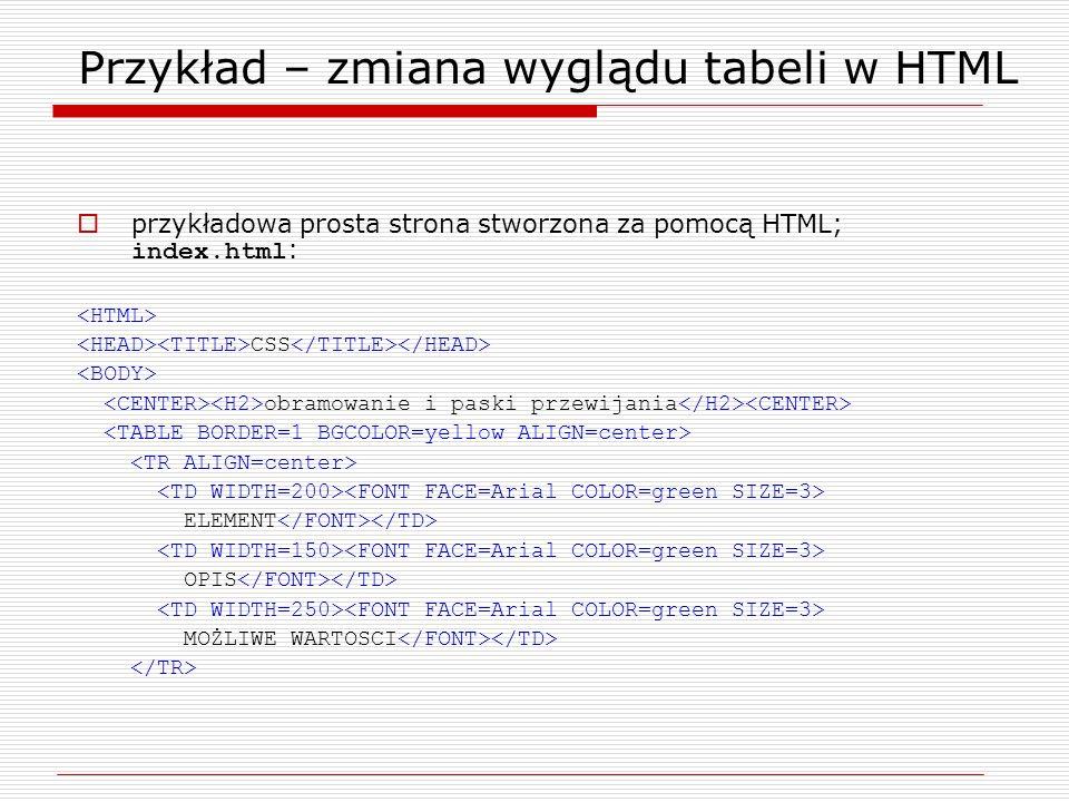 Przykład – zmiana wyglądu tabeli w HTML przykładowa prosta strona stworzona za pomocą HTML; index.html : CSS obramowanie i paski przewijania ELEMENT O