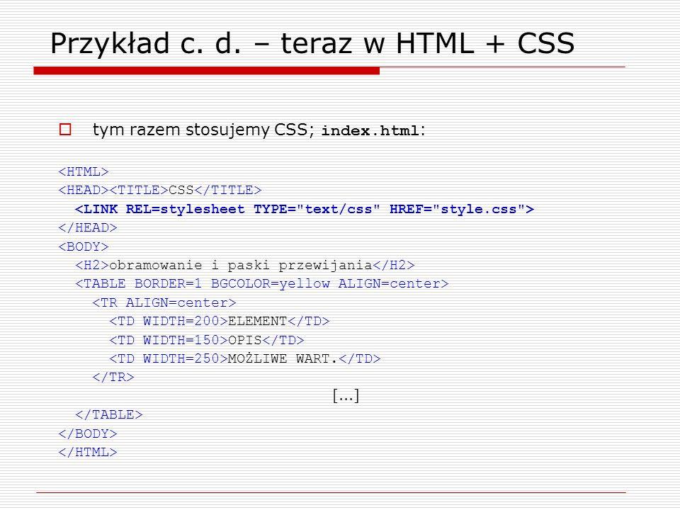 Przykład c. d. – teraz w HTML + CSS tym razem stosujemy CSS; index.html : CSS obramowanie i paski przewijania ELEMENT OPIS MOŻLIWE WART. [...]