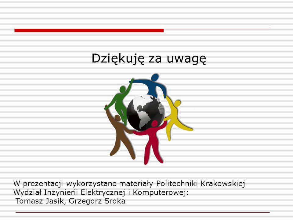 Dziękuję za uwagę W prezentacji wykorzystano materiały Politechniki Krakowskiej Wydział Inżynierii Elektrycznej i Komputerowej: Tomasz Jasik, Grzegorz