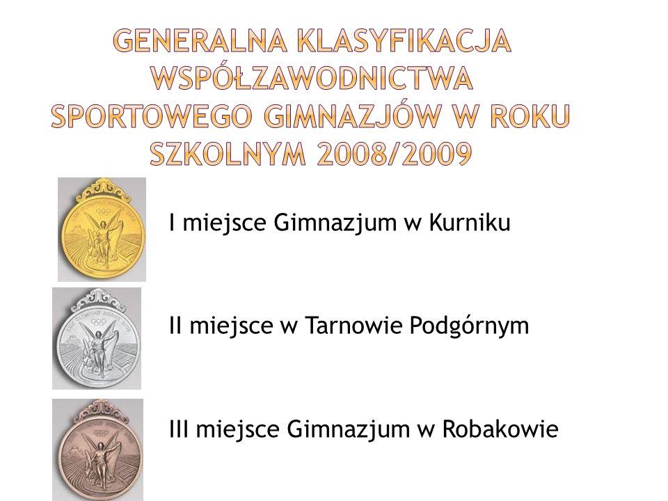 I miejsce Gimnazjum w Kurniku II miejsce w Tarnowie Podgórnym III miejsce Gimnazjum w Robakowie