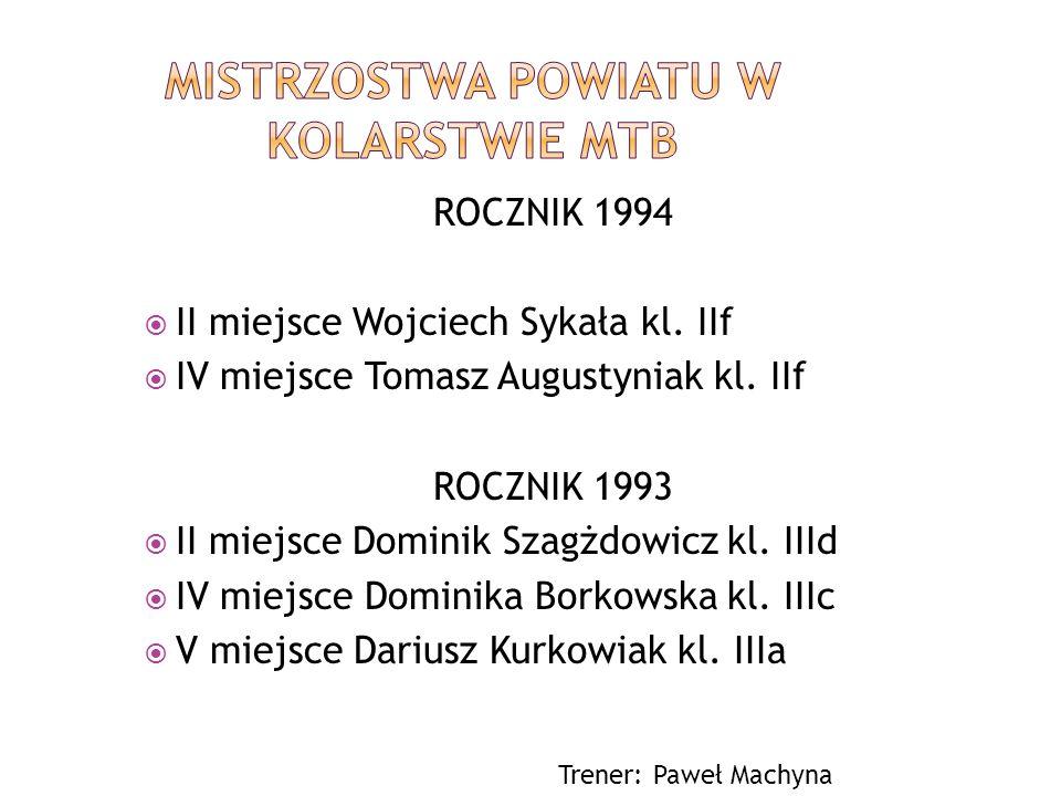 ROCZNIK 1994 II miejsce Wojciech Sykała kl. IIf IV miejsce Tomasz Augustyniak kl. IIf ROCZNIK 1993 II miejsce Dominik Szagżdowicz kl. IIId IV miejsce