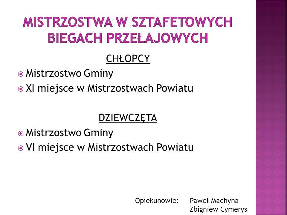 CHŁOPCY Mistrzostwo Gminy XI miejsce w Mistrzostwach Powiatu DZIEWCZĘTA Mistrzostwo Gminy VI miejsce w Mistrzostwach Powiatu Opiekunowie: Paweł Machyn