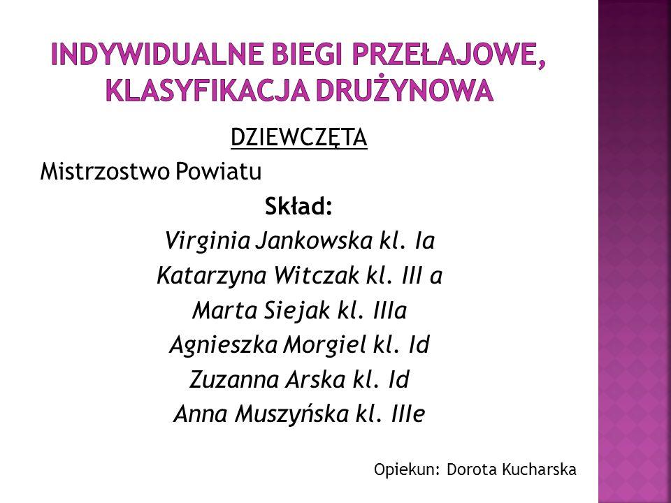DZIEWCZĘTA Mistrzostwo Powiatu Skład: Virginia Jankowska kl. Ia Katarzyna Witczak kl. III a Marta Siejak kl. IIIa Agnieszka Morgiel kl. Id Zuzanna Ars