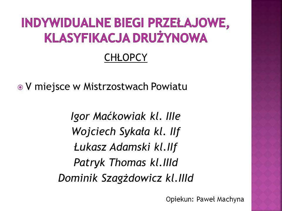 III miejsce w Mistrzostwach Powiatu Trener: Dorota Kucharska Natalia Sworek Magda Kuźniak