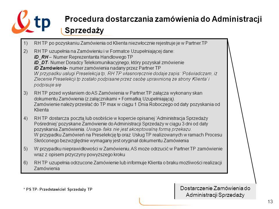 13 Procedura dostarczania zamówienia do Administracji Sprzedaży 1)RH TP po pozyskaniu Zamówienia od Klienta niezwłocznie rejestruje je w Partner.TP W