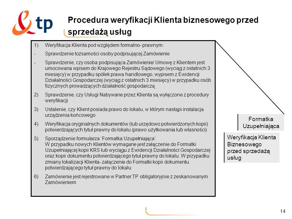 14 Procedura weryfikacji Klienta biznesowego przed sprzedażą usług 1)Weryfikacja Klienta pod względem formalno- prawnym: -Sprawdzenie tożsamości osoby
