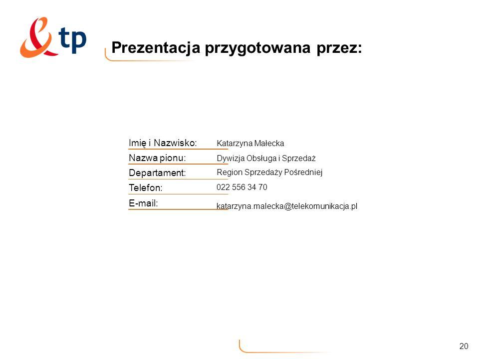 20 Prezentacja przygotowana przez: Imię i Nazwisko: Katarzyna Małecka Nazwa pionu: Dywizja Obsługa i Sprzedaż Departament: Region Sprzedaży Pośredniej