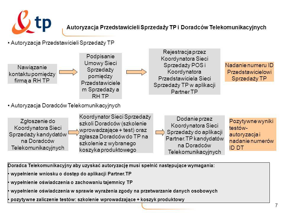 8 System szkoleń Koordynator Sieci Sprzedaży organizuje i prowadzi szkolenia Wprowadzające + test dla kandydatów na Doradców Telekomunikacyjnych Telekomunikacja Polska organizuje i prowadzi szkolenia:: a).