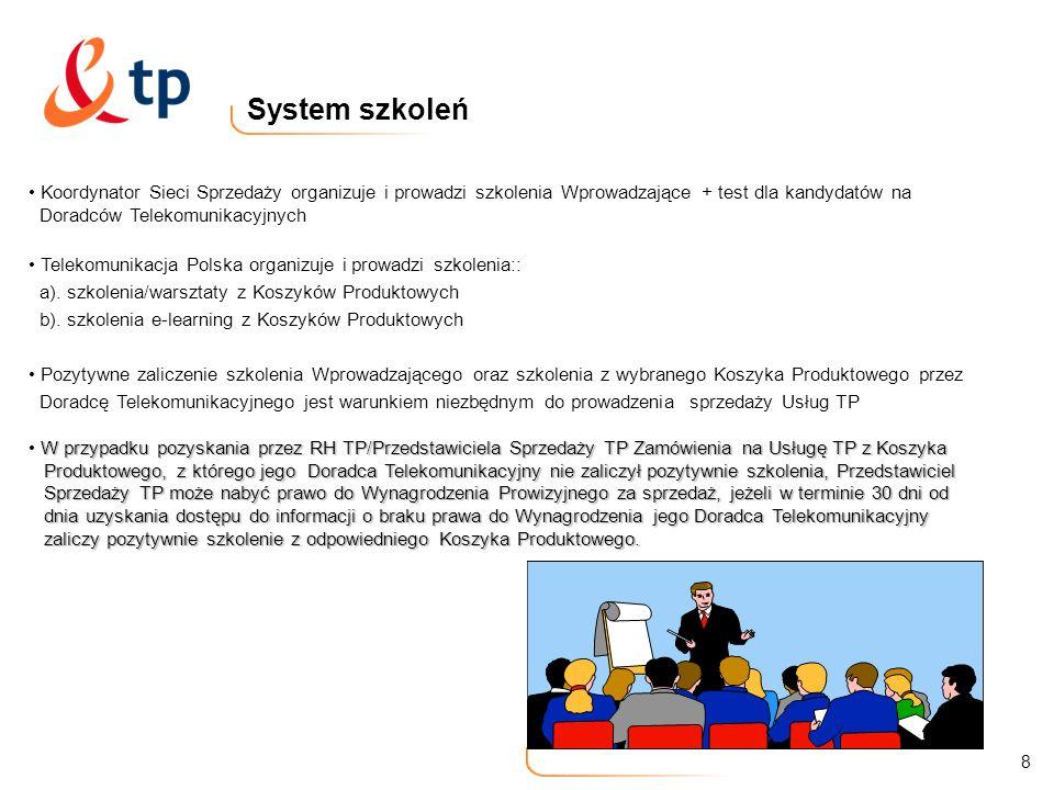 8 System szkoleń Koordynator Sieci Sprzedaży organizuje i prowadzi szkolenia Wprowadzające + test dla kandydatów na Doradców Telekomunikacyjnych Telek