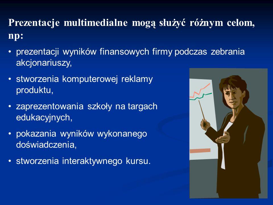 Do przygotowania prezentacji multimedialnej można zastosować: – program Microsoft PowerPoint - płatny z licencją, – program OpenOffice.org Impress - n