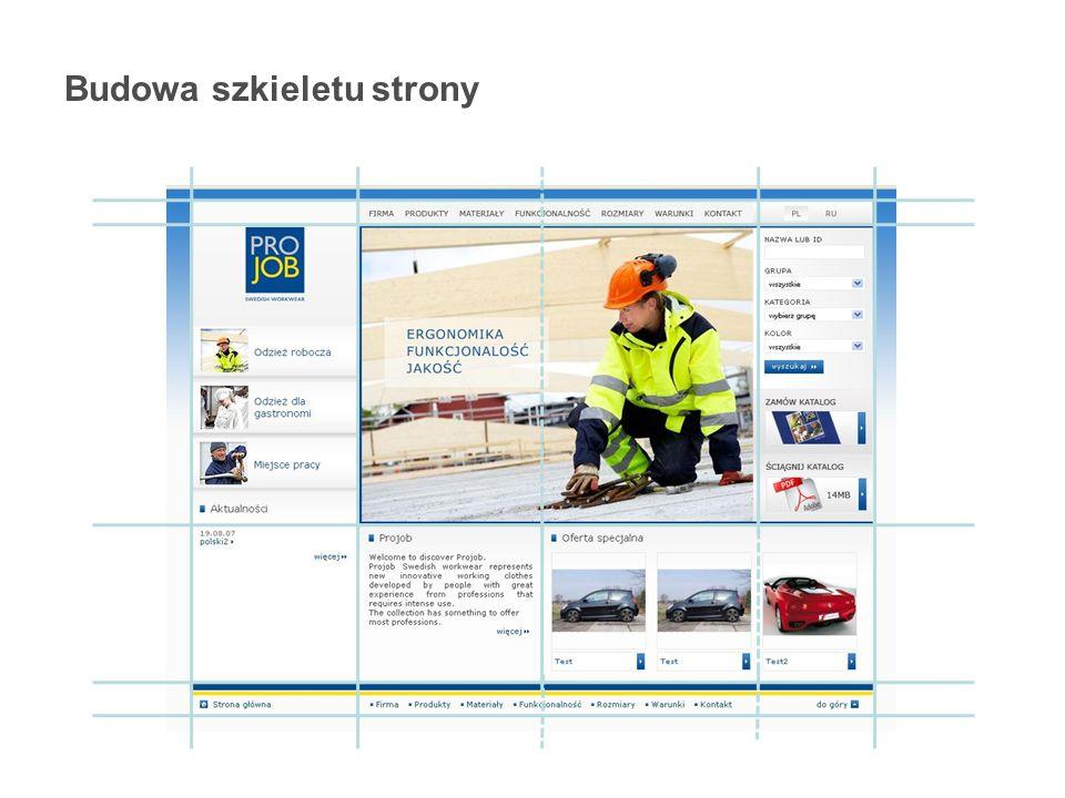 Budowa szkieletu strony Aplikacje internetowe - HTML - Tabele