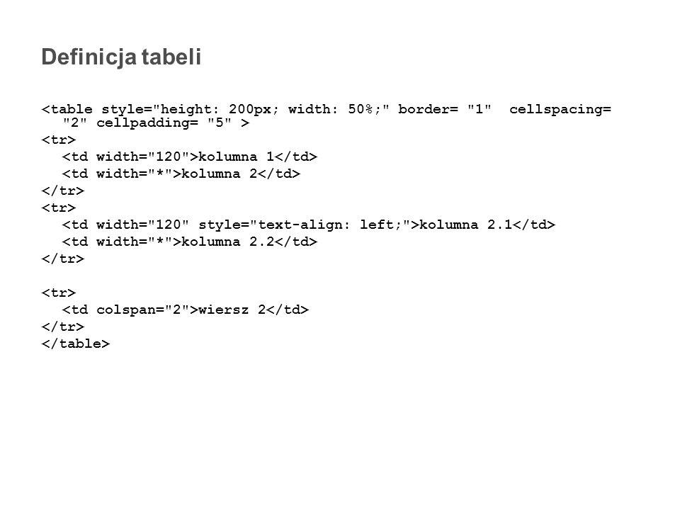 Definicja tabeli Aplikacje internetowe - HTML - Tabele kolumna 1 kolumna 2 kolumna 2.1 kolumna 2.2 wiersz 2