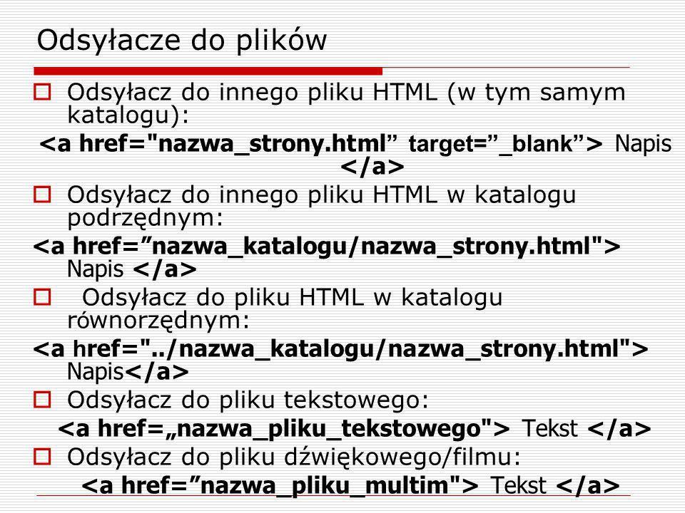 Odsyłacze do plików Odsyłacz do innego pliku HTML (w tym samym katalogu): Napis Odsyłacz do innego pliku HTML w katalogu podrzędnym: Napis Odsyłacz do