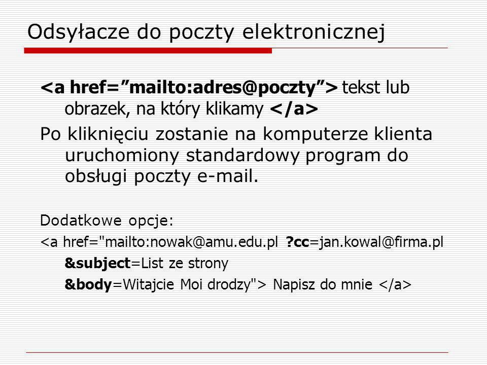tekst lub obrazek, na który klikamy Po kliknięciu zostanie na komputerze klienta uruchomiony standardowy program do obsługi poczty e-mail. Dodatkowe o