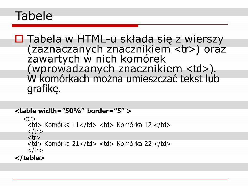 Tabela w HTML-u składa się z wierszy (zaznaczanych znacznikiem ) oraz zawartych w nich komórek (wprowadzanych znacznikiem ). W komórkach można umieszc