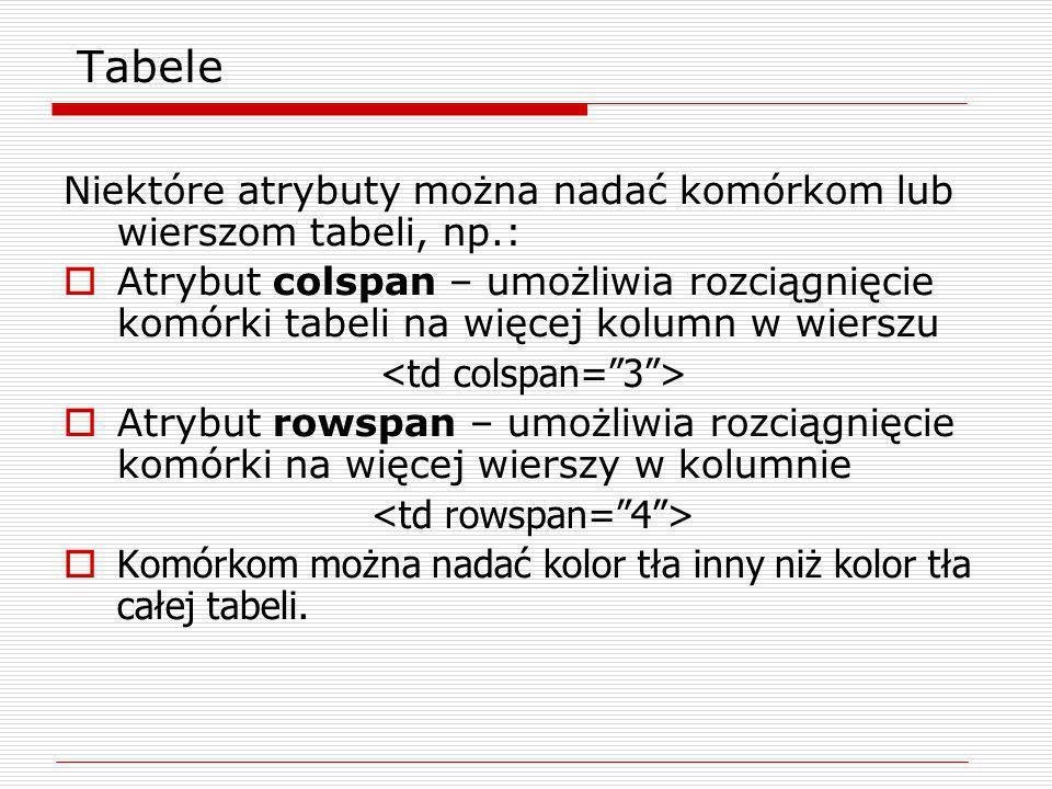 Niektóre atrybuty można nadać komórkom lub wierszom tabeli, np.: Atrybut colspan – umożliwia rozciągnięcie komórki tabeli na więcej kolumn w wierszu A