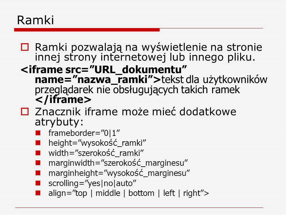 Ramki pozwalaj ą na wy ś wietlenie na stronie innej strony internetowej lub innego pliku. tekst dla użytkowników przeglądarek nie obsługujących takich