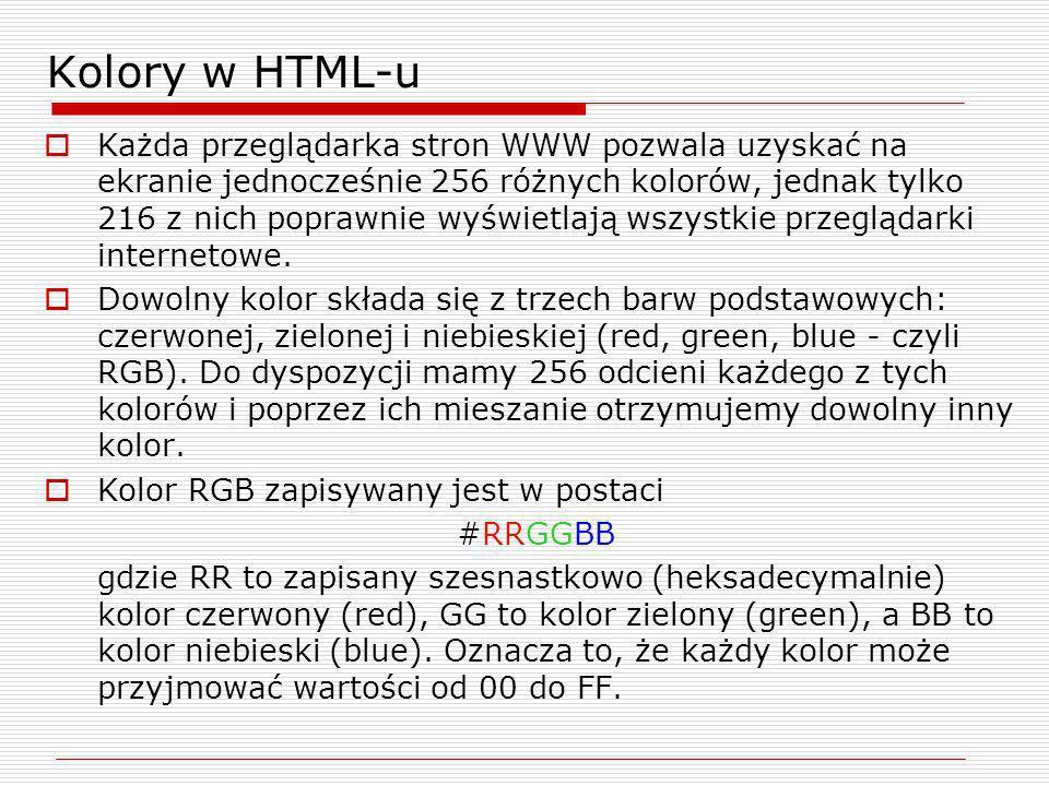 Kolory w HTML-u Każda przeglądarka stron WWW pozwala uzyskać na ekranie jednocześnie 256 różnych kolorów, jednak tylko 216 z nich poprawnie wyświetlaj