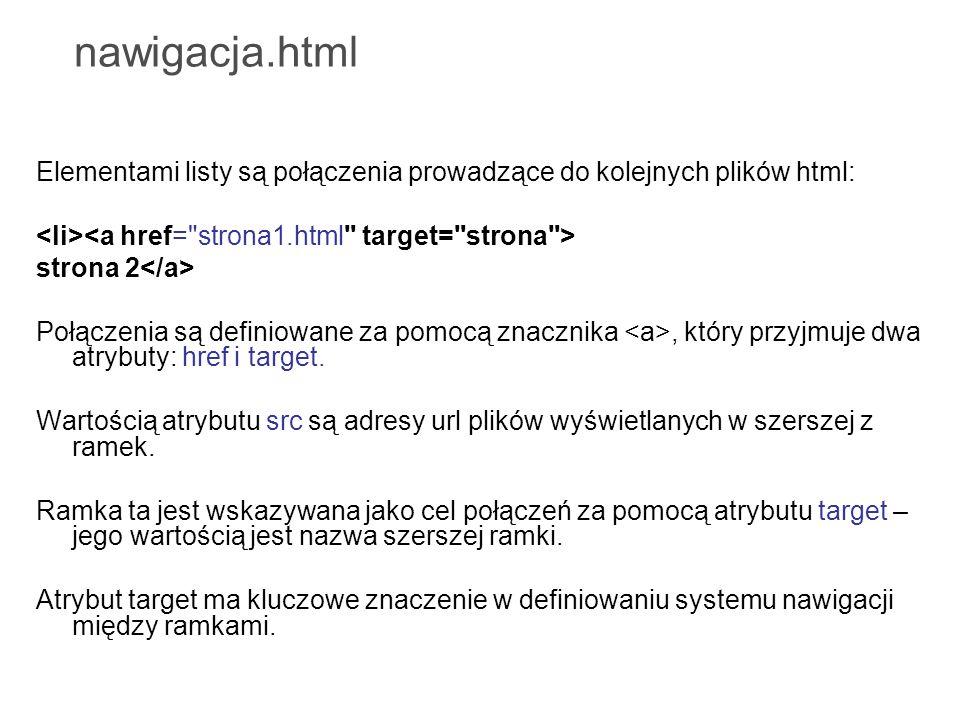 nawigacja.html Elementami listy są połączenia prowadzące do kolejnych plików html: strona 2 Połączenia są definiowane za pomocą znacznika, który przyj