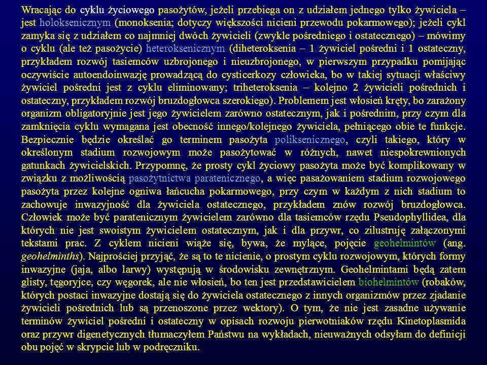 Wracając do cyklu życiowego pasożytów, jeżeli przebiega on z udziałem jednego tylko żywiciela – jest holoksenicznym (monoksenia; dotyczy większości ni