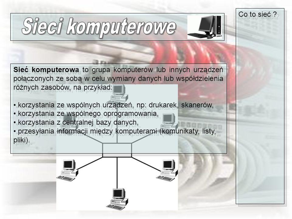 Co to sieć ? Sieć komputerowa to grupa komputerów lub innych urządzeń połączonych ze sobą w celu wymiany danych lub współdzielenia różnych zasobów, na