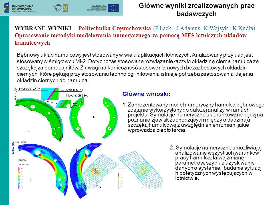 Główne wyniki zrealizowanych prac badawczych Bębnowy układ hamulcowy jest stosowany w wielu aplikacjach lotniczych. Analizowany przykład jest stosowan