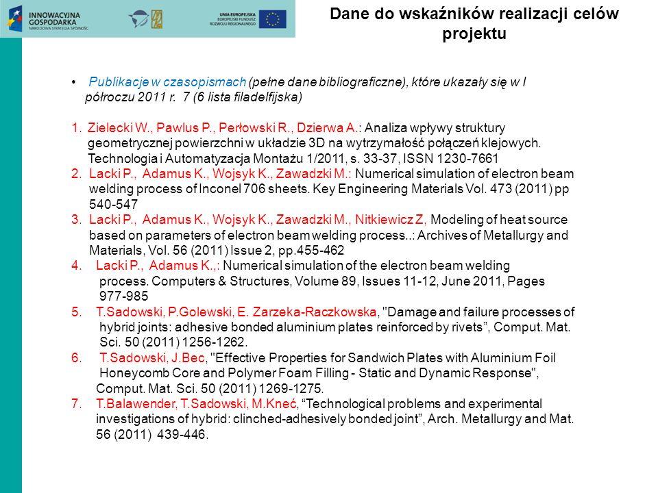 Dane do wskaźników realizacji celów projektu Publikacje w czasopismach (pełne dane bibliograficzne), które ukazały się w I półroczu 2011 r. 7 (6 lista