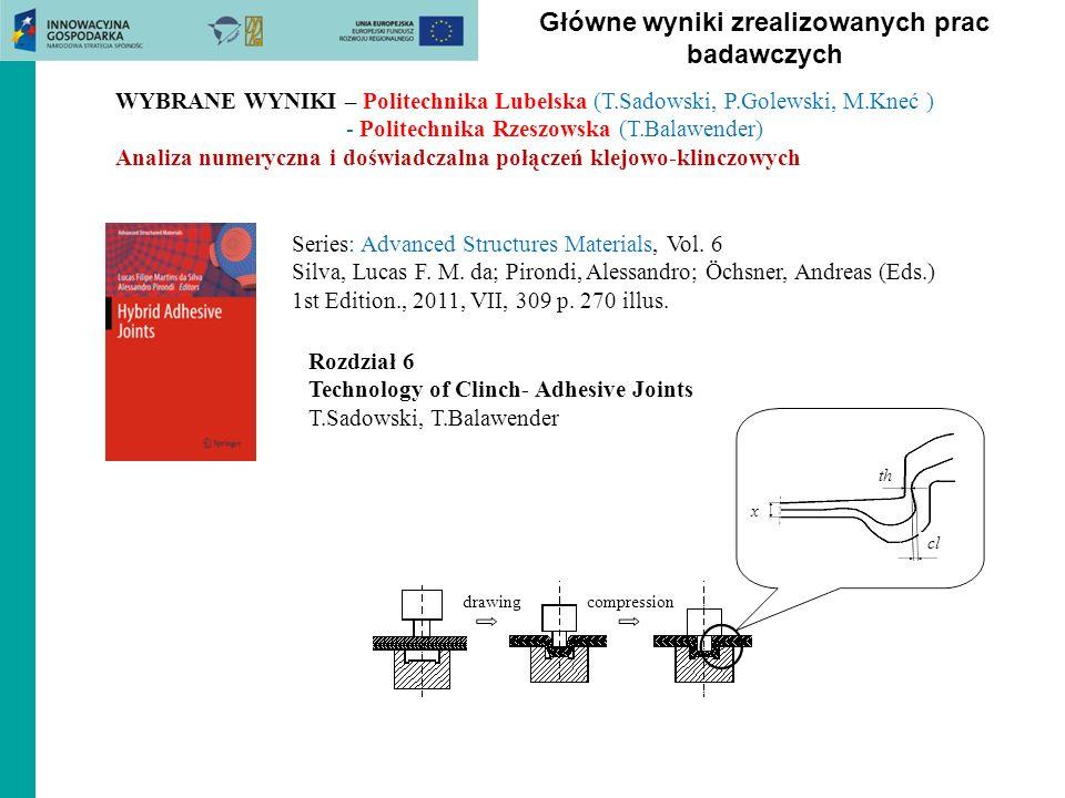 Główne wyniki zrealizowanych prac badawczych WYBRANE WYNIKI – Politechnika Lubelska (T.Sadowski, P.Golewski, M.Kneć ) - Politechnika Rzeszowska (T.Bal