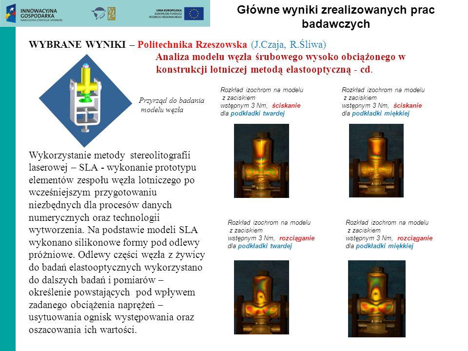 Główne wyniki zrealizowanych prac badawczych WYBRANE WYNIKI – Politechnika Rzeszowska (J.Czaja, R.Śliwa) Analiza modelu węzła śrubowego wysoko obciążo